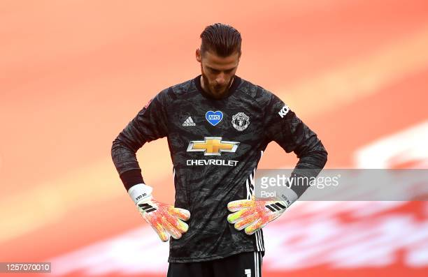 David De Gea of Manchester United reacts during the FA Cup Semi Final match between Manchester United and Chelsea at Wembley Stadium on July 19, 2020...