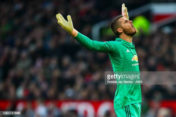 David de Gea of Manchester United reacts during the Premier League match between Manchester United and Crystal Palace at Old Trafford on November 24...