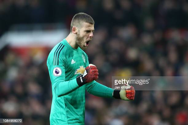 David De Gea of Manchester United reacts during the Premier League match between Manchester United and Brighton Hove Albion at Old Trafford on...
