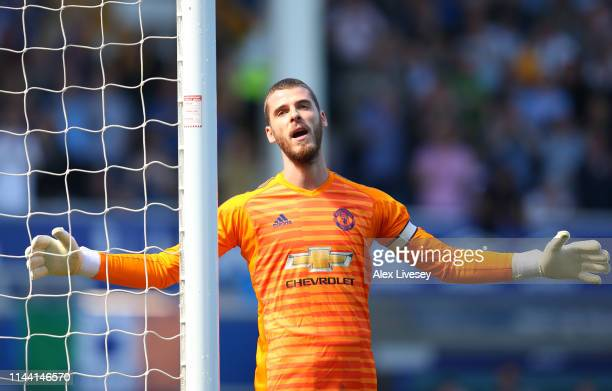 David De Gea of Manchester United reacts during the Premier League match between Everton FC and Manchester United at Goodison Park on April 21 2019...