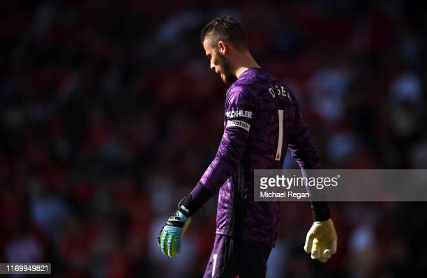 David De Gea of Manchester United reacts during the Premier League match between Manchester United and Crystal Palace at Old Trafford on August 24,...