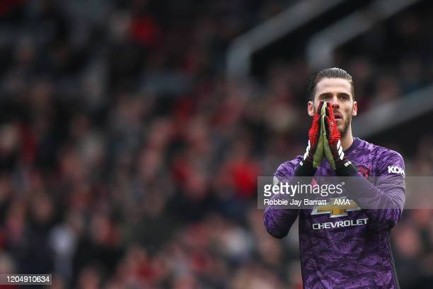 David de Gea of Manchester United reacts during the Premier League match between Manchester United and Watford FC at Old Trafford on February 23 2020...