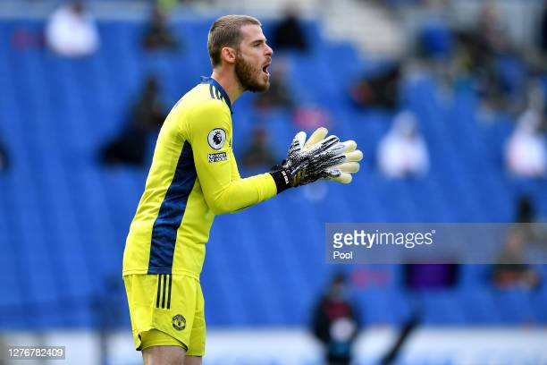 David De Gea of Manchester United reacts during the Premier League match between Brighton Hove Albion and Manchester United at American Express...