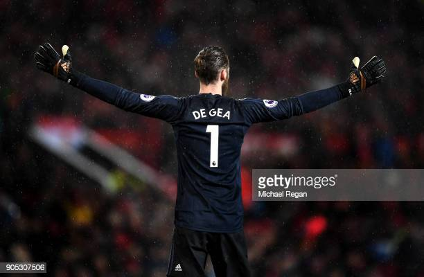 David De Gea of Manchester United reacts during the Premier League match between Manchester United and Stoke City at Old Trafford on January 15 2018...