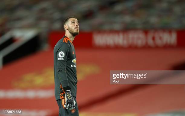 David De Gea of Manchester United reacts following the Premier League match between Manchester United and Crystal Palace at Old Trafford on September...