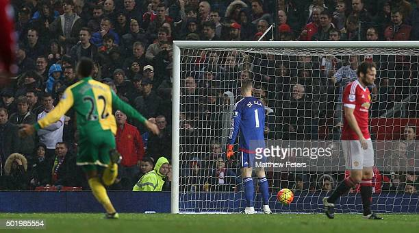 David de Gea of Manchester United reacts to Alexander Tettey of Norwich City scoring their second goal during the Barclays Premier League match...