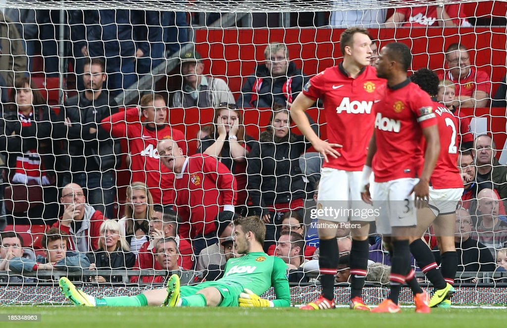David de Gea of Manchester United reacts to conceding a goal during the Barclays Premier League match between Manchester United and Southampton at Old Trafford on October 19, 2013 in Manchester, England.