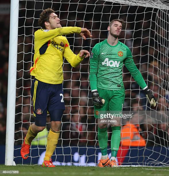 David de Gea of Manchester United reacts to conceding a goal to Phil Bardsley of Sunderland during the Capital One Cup semifinal second leg at Old...