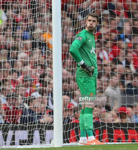 David de Gea of Manchester United reacts to conceding a goal to Sebastian Larsson during the Barclays Premier League match between Manchester United...