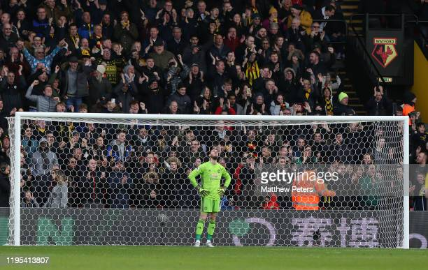 David de Gea of Manchester United reacts to conceding a goal to Ismaila Sarr of Watford during the Premier League match between Watford FC and...