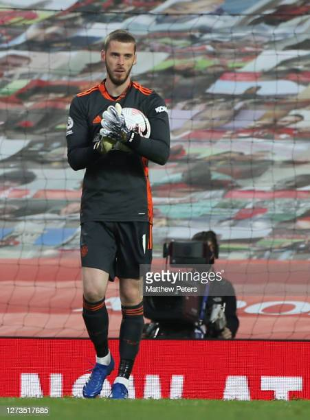 David de Gea of Manchester United reacts to conceding a penalty to Wilfried Zaha during the Premier League match between Manchester United and...