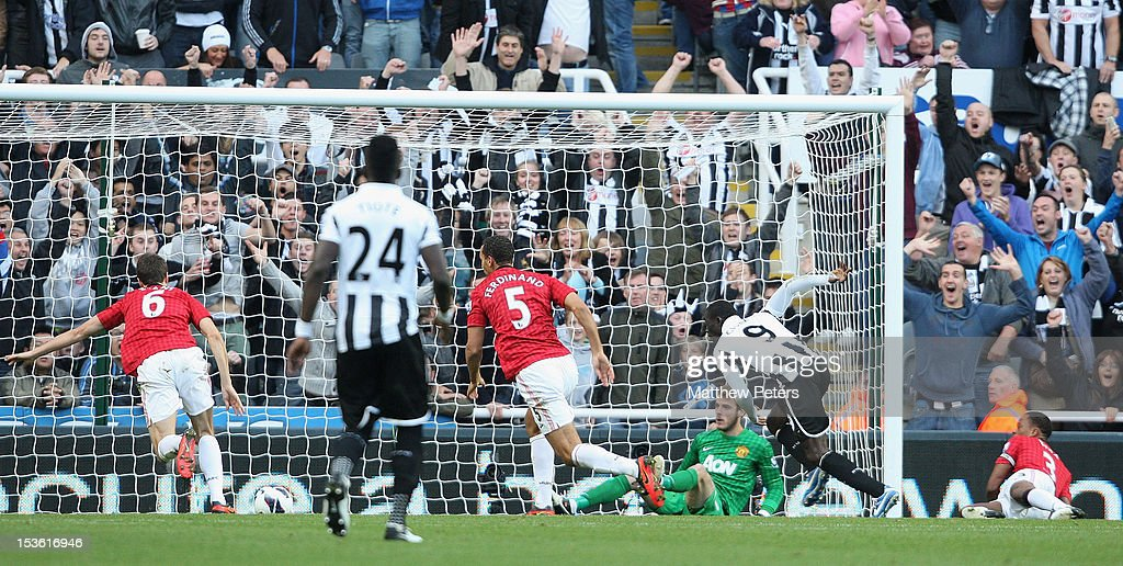 David de Gea of Manchester United saves a header from Papiss Cisee of Newcastle United on the line during the Barclays Premier League match between Newcastle United and Manchester United at Sports Direct Arena on October 7, 2012 in Newcastle upon Tyne, England.