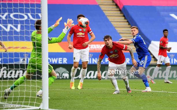 David De Gea of Manchester United saves an attempt on goal from Harvey Barnes of Leicester City during the Premier League match between Leicester...