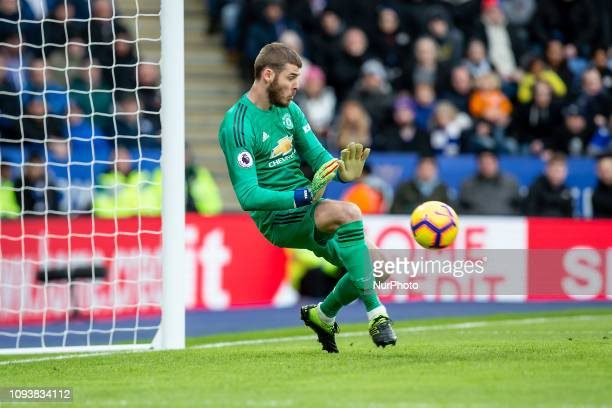 David De Gea of Manchester United saves during the Premier League match between Leicester City and Manchester United at the King Power Stadium...