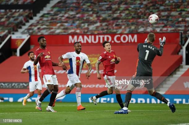 David De Gea of Manchester United saves from Jordan Ayew of Crystal Palace during the Premier League match between Manchester United and Crystal...