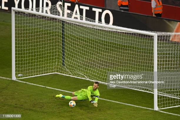 David de Gea of Manchester United saves the penalty of Daniel Maldini of Milan during the 2019 International Champions Cup match between Manchester...