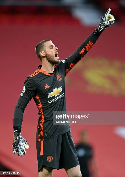 David de Gea of Manchester United shouts intructions during the Premier League match between Manchester United and Crystal Palace at Old Trafford on...