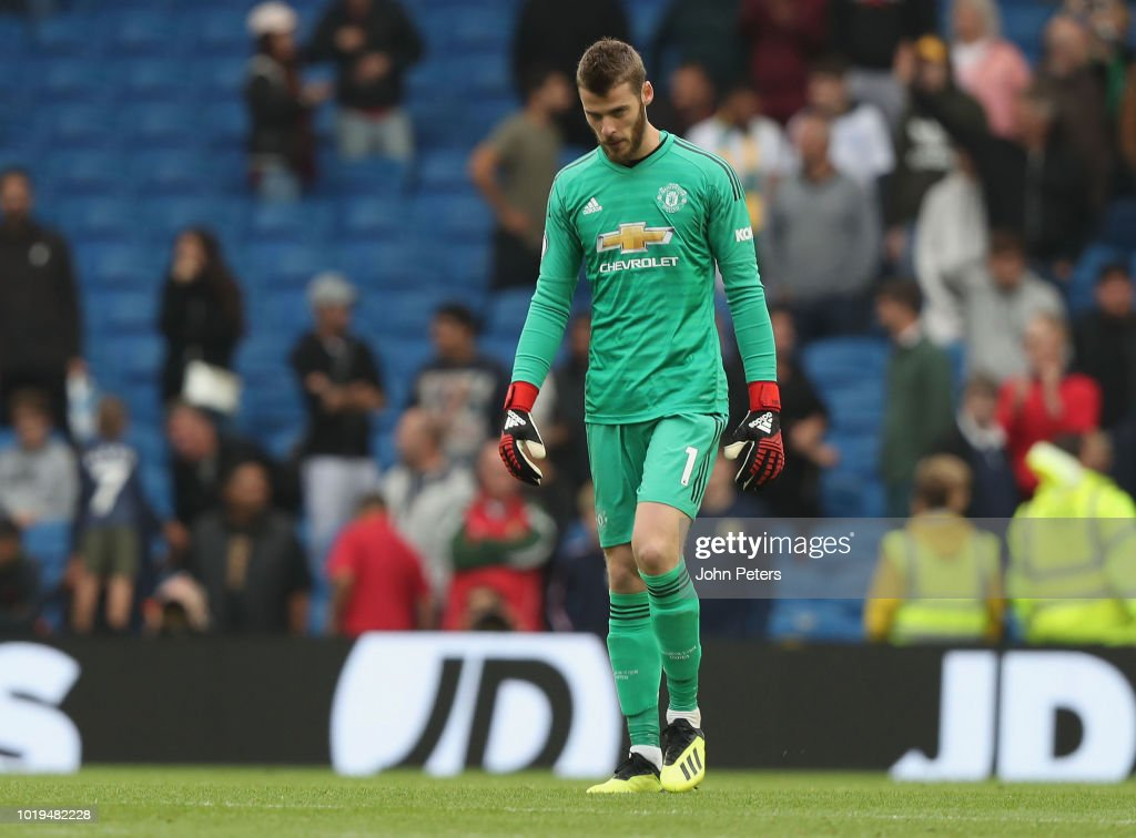 David de Gea of Manchester United shows his disappointment after the Premier League match between Brighton & Hove Albion and Manchester United at American Express Community Stadium on August 19, 2018 in Brighton, United Kingdom.