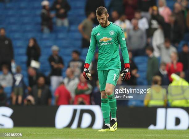 David de Gea of Manchester United shows his disappointment after the Premier League match between Brighton Hove Albion and Manchester United at...
