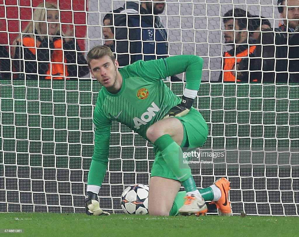 David de Gea of Manchester United shows his disappointment at conceding a goal to Joel Campbell during the UEFA Champions League Round of 16 match between Olympiacos FC and Manchester United at Karaiskakis Stadium on February 25, 2014 in Piraeus, Greece.