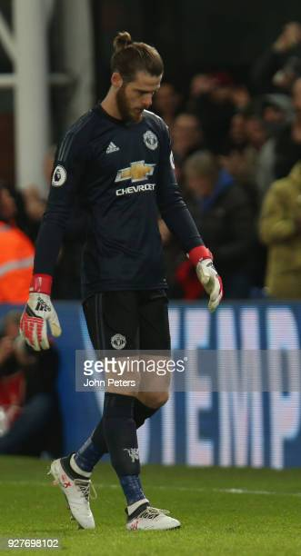 David de Gea of Manchester United shows his disappointment at conceding a goal to Andros Townsend of Crystal Palace during the Premier League match...