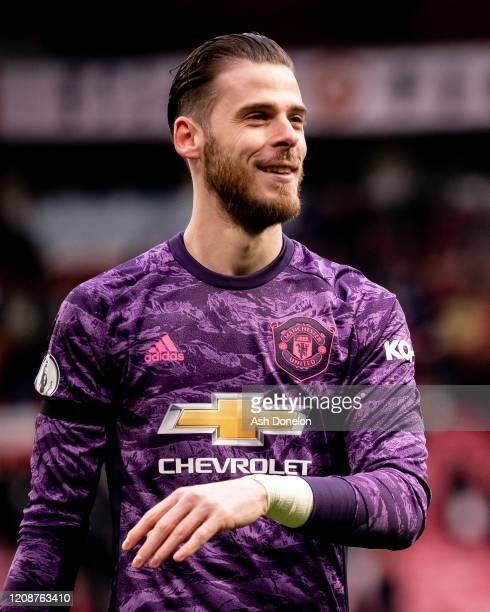 David de Gea of Manchester United walks off after the Premier League match between Manchester United and Watford FC at Old Trafford on February 23...
