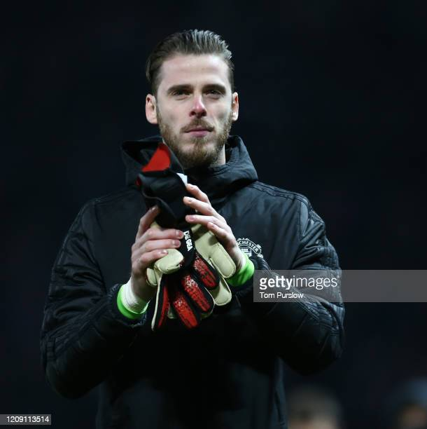 David de Gea of Manchester United walks off after the UEFA Europa League round of 32 second leg match between Manchester United and Club Brugge at...