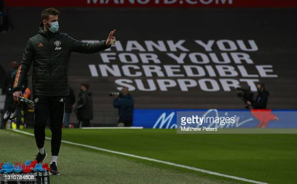 David de Gea of Manchester United walks out ahead of the Premier League match between Manchester United and Brighton & Hove Albion at Old Trafford on...