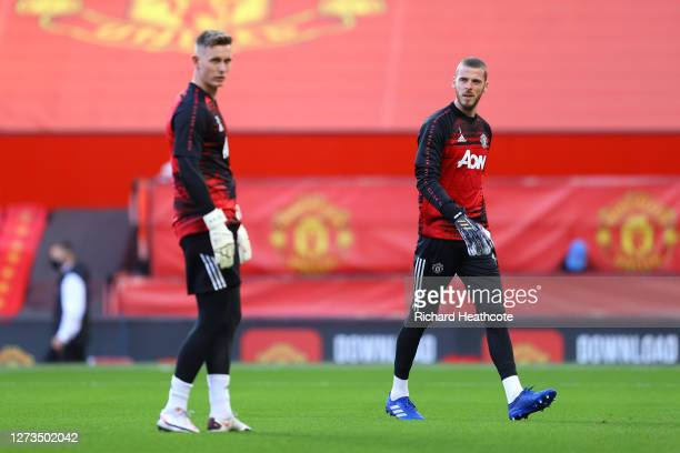 David De Gea of Manchester United warms up ahead of the Premier League match between Manchester United and Crystal Palace at Old Trafford on...