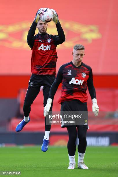 David De Gea of Manchester United warms up prior to the Premier League match between Manchester United and Crystal Palace at Old Trafford on...