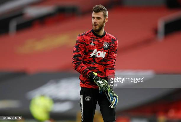 David De Gea of Manchester United warms up prior to the Premier League match between Manchester United and Brighton & Hove Albion at Old Trafford on...