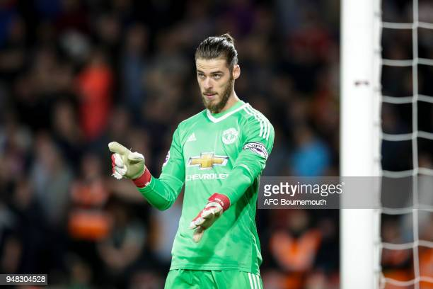 David De Gea of Manchester Utd during the Premier League match between AFC Bournemouth and Manchester United at Vitality Stadium on April 18 2018 in...