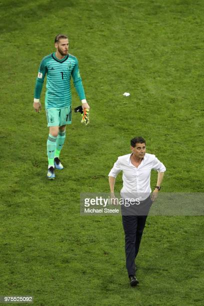 David De Gea of Spain and Fernando Hierro Head coach of Spain leave the pitch following the 2018 FIFA World Cup Russia group B match between Portugal...