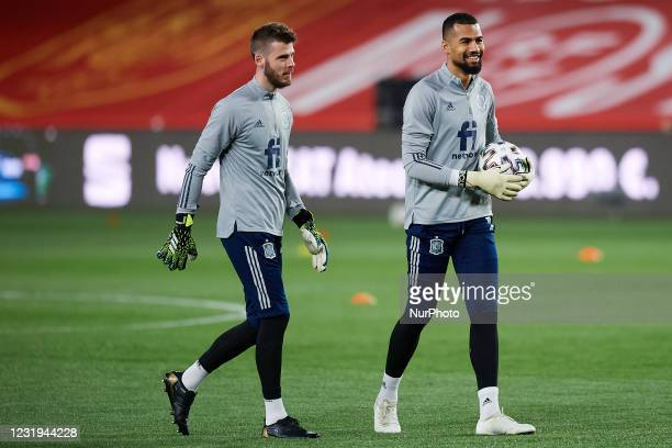 David de Gea of Spain and Robert Sanchez of Spain during the warm-up before the FIFA World Cup 2022 Qatar qualifying match between Spain and Greece...