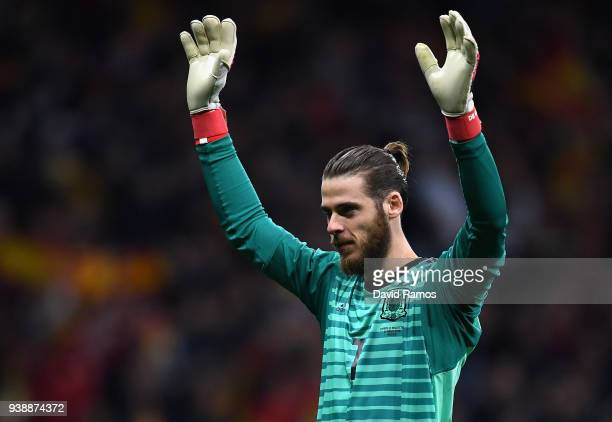 David De Gea of Spain celebrates after his sides fourth goal during the International Friendly between Spain and Argentina on March 27 2018 in Madrid...