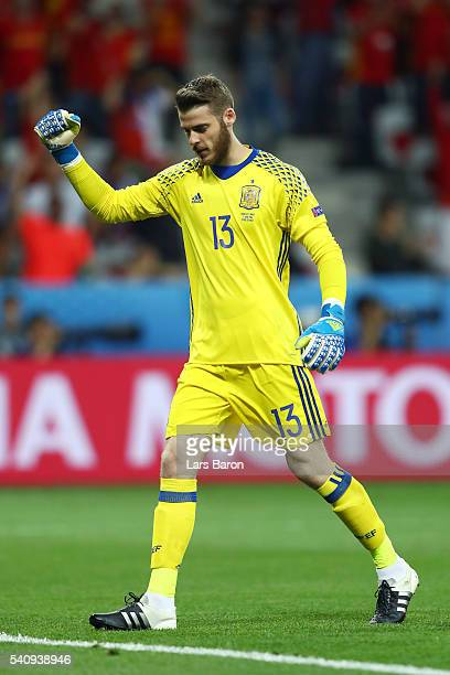 David de Gea of Spain celebrates after spain score to make it 20 during the UEFA EURO 2016 Group D match between Spain and Turkey at Allianz Riviera...