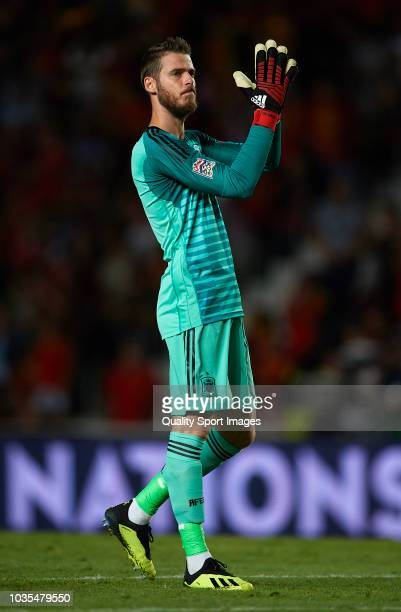 David de Gea of Spain celebrates during the UEFA Nations League A group four match between Spain and Croatia at Manuel Martinez Valero Stadium on...
