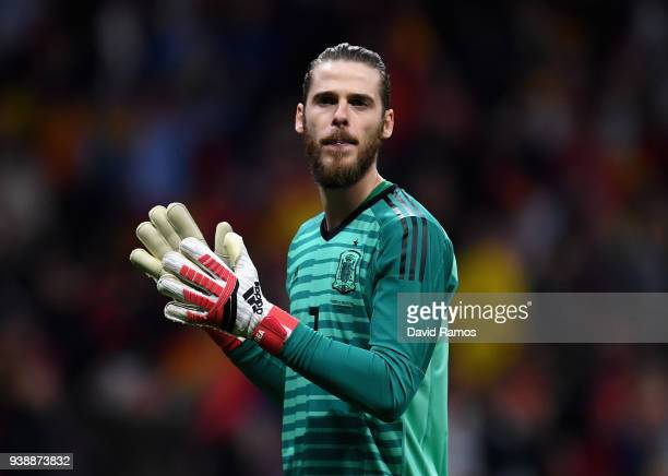 David De Gea of Spain celebrates his sides goal during the International Friendly between Spain and Argentina on March 27 2018 in Madrid Spain