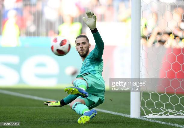 David De Gea of Spain fails to save a penalty scored by Artem Dzyuba of Russia leading to Russia's first goal during the 2018 FIFA World Cup Russia...
