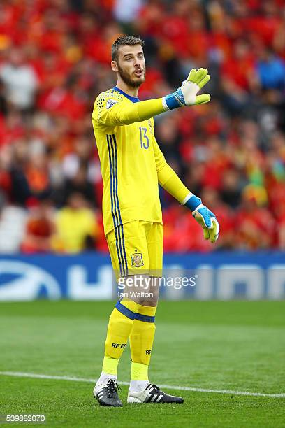 David de Gea of Spain gestures during the UEFA EURO 2016 Group D match between Spain and Czech Republic at Stadium Municipal on June 13 2016 in...