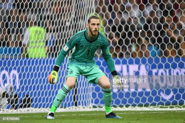 David de Gea of Spain in action during the 2018 FIFA World Cup Russia group B match between Portugal and Spain at Fisht Stadium on June 15 2018 in...