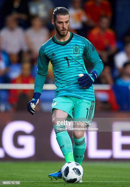 David de Gea of Spain in action during the International Friendly match between Spain and Switzerland at Estadio de La Ceramica on June 3 2018 in...