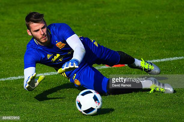 David De Gea of Spain in action during training session on May 28 2016 in Schruns Austria