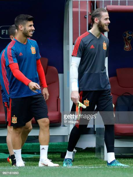 David de Gea of Spain laughs during a training session on June 30 2018 in Moscow Russia