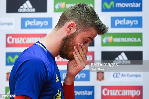 David de Gea of Spain leaves a press conference on June 10 2016 in La Rochelle France