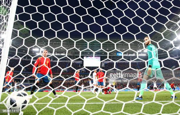David De Gea of Spain looks dejected after conceding a second goal by Youssef En Nesyri of Morocco during the 2018 FIFA World Cup Russia group B...