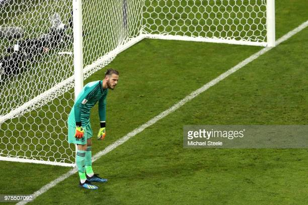 David De Gea of Spain looks dejected following Portugal's second goal during the 2018 FIFA World Cup Russia group B match between Portugal and Spain...