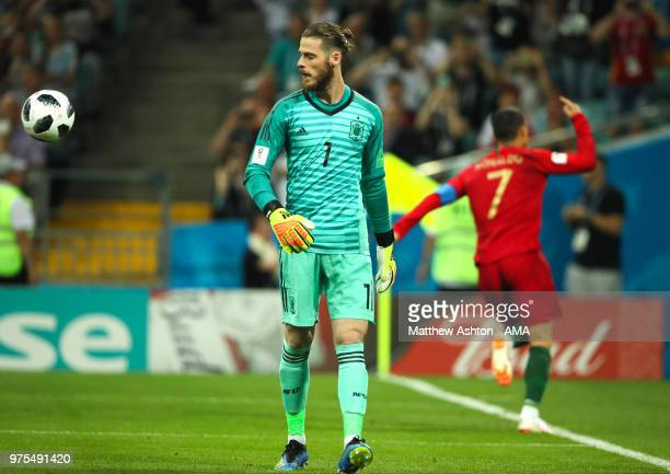 David De Gea of Spain looks on after Cristiano Ronaldo of Portugal scored a goal to make it 10 during the 2018 FIFA World Cup Russia group B match...