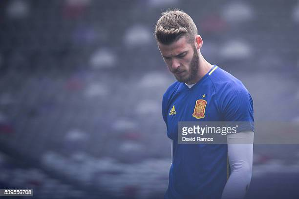David de Gea of Spain looks on during a training session ahead of their UEFA Euro 2016 Group D match at the Stadium Municipal on June 11 2016 in...