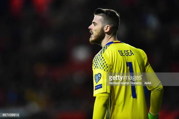 David de Gea of Spain looks on during the FIFA 2018 World Cup Qualifier between Spain and Israel at Estadio El Molinon on March 24 2017 in Gijon Spain